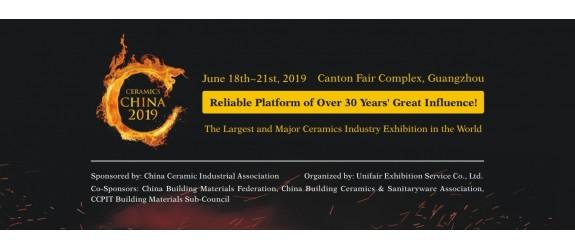 PARTECIPAZIONE ALLA FIERA DI CERAMICS CHINA 2019 DAL 18/06/19 AL 21/06/19 GUANGZHOU, STAND N° C007 – HALL 3